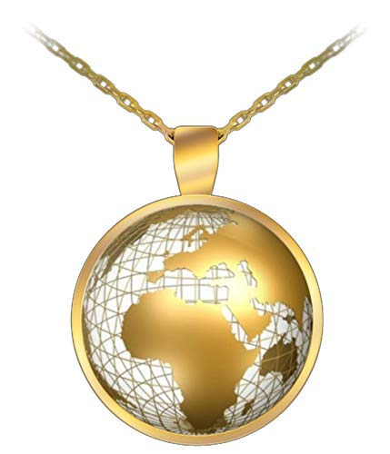 CyberHutt West World Globe Earth Atlas Map Traveler 1 inch Round Pendant 22 inch Necklace Gift