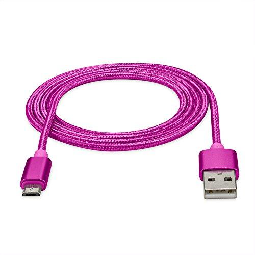 rocabo 1,2m Premium Micro-USB auf USB Kabel pink - Handy Lade-Kabel - Datenkabel - Synchronisation-Kabel - Nylonmantel - für Android, Samsung, HTC, Sony, Nokia, LG, HP Blackberry, Motorola und viele mehr