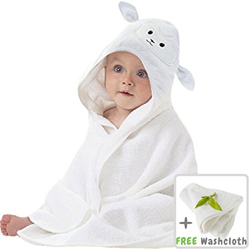Lucylla Organic Bamboo Baby Hooded Towel | Ultra Soft & Super Absorbent Toddler Hooded Bath Towel with Cute Lamb Face Design | Great Infant/Newborn Shower Gift for Boy or Girl