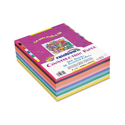 Rainbow Super Value Construction Paper Ream, 45 lb, 9 x 12, Assorted, 500 Sheets, Sold as 1 Ream