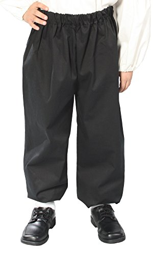 Alexanders Costumes Kids Renaissance Peasant Pants, Black, Large (Colonial Pirate Costume)