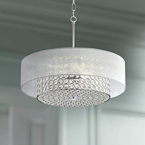 Viviette Chrome Drum Pendant Chandelier 20 Wide Modern Crystal Clear Sheer Organza Shade Fixture for Dining Room House Foyer Kitchen Island Entryway Bedroom Living Room – Possini Euro Design