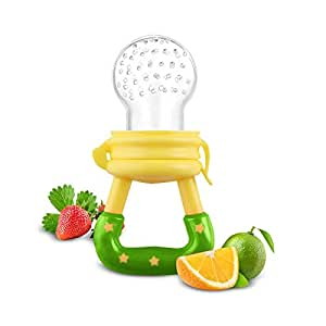 Fresh Food Baby Feeders with Silicon Nipple (Large, Yellow-Green)