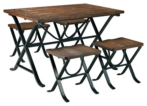 (Ashley Furniture Signature Design - Freimore Dining Room Table and Stools - Set of 5 - Medium Brown Wood Top and Black Metal Legs)