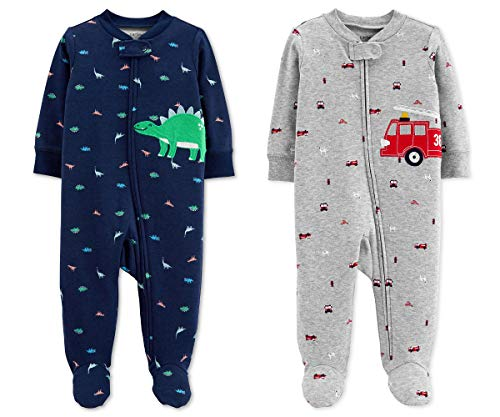 Carter's Baby Boys Footed Sleeper Cotton Sleep and Play Pajama with Zipper, Set of 2 (3 Months, Blue Dinosaur Grey Firetruck)