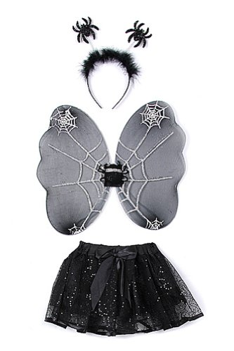 Toddler Spider Halloween Costumes (Black Toddler Girl Spider Wings Tutu Costume Dress Up Set 1-4T)