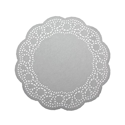 LJY 100 Pieces White Lace Round Paper Doilies Cake Packaging Pads Wedding Tableware Decoration (10.5 Inch)