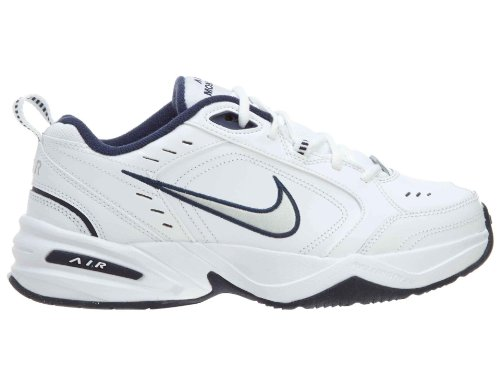 Nike Herren leather-and-synthetic Air Monarch IV TRAINING Schuhe, - White / Metallic Silver / Midnight Navy - Größe: 42 EU