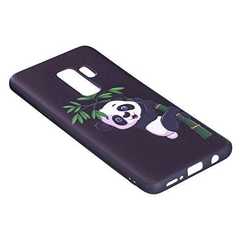 Grandcaser Funda para Samsung Galaxy S9 Plus,Ultra Fina Slim Flexible Duradera Protectora Funda Estuche de Silicona TPU Gel Original Goma Grip Bumper Design Carcasa - Mariposa grande Bamboo Panda