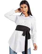 قميص طويل وازرار بلونين متباينين للنساء