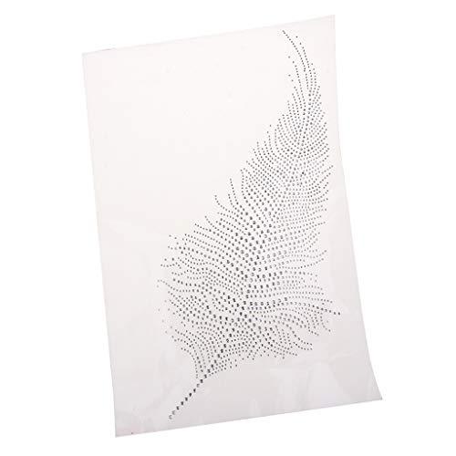 SM SunniMix Feather Design Rhinestone Iron On Transfer Hotfix Crystal Bling Applique Stickers, 240 x 217 x 2mm