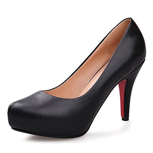 AllhqFashion Mujer Cuero de Vaca Slip-on Tacón Alto Puntera Redonda ZapatosdeTacón Negro