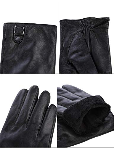 Sheeper Men's Touchscreen Leather Driving Gloves Motorcycle Gloves 2 Adjustable Button (Black) M by Sheeper (Image #6)