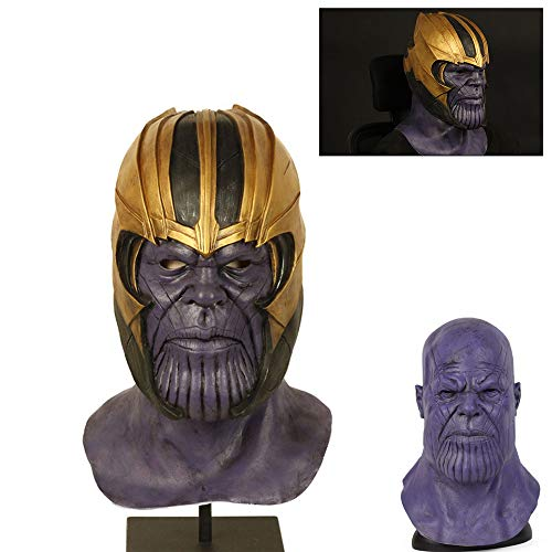Cosplay Movie The Avengers Thanos Latex Mask Full Headgear Head Helmet Halloween Party Props (Purple)]()