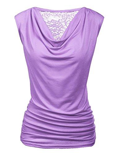 r Solid V Neck Ruched Side Slim Fit Casual Tank Tops Lavender Medium ()