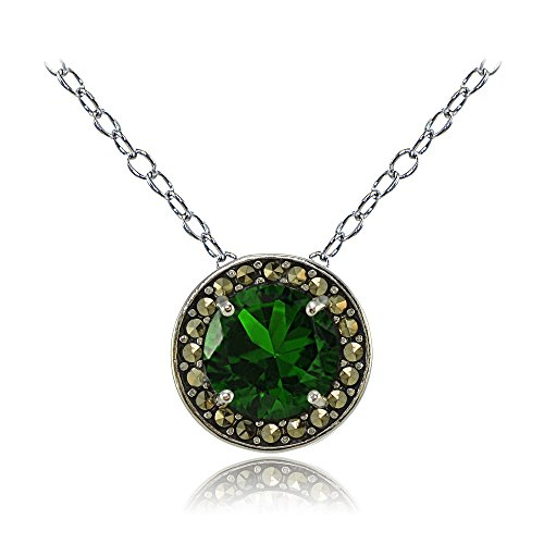Sterling Silver Created Emerald and Marcasite Halo Necklace