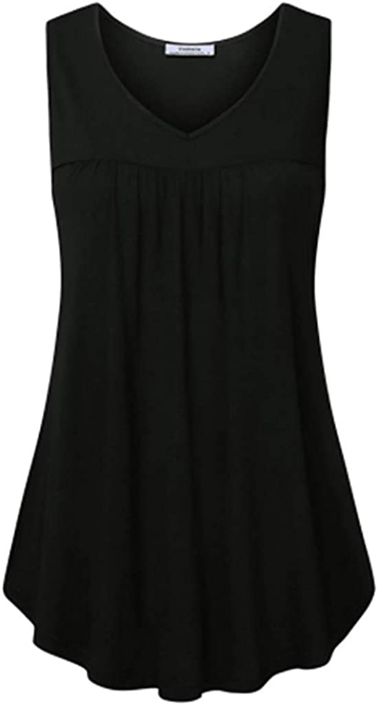 Women Sleeveless Pleated Tank Top Summer V Neck Flowy T Shirt Blouse Solid Tunic Tops