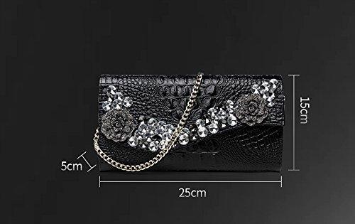 dossier à à Sac main banquet pour à sac tendance à sac en à main à main à dames dîner diamant cuir sac Couleur Noir grande capacité Blanc foret 86x87
