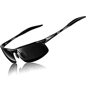 ATTCL Men's HOT Fashion Driving Polarized Sunglasses for Men Al-Mg Metal Frame Ultra Light (Black1,8177)
