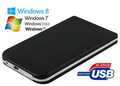 Allcam USB2 2,5 pulgadas disco duro portátil de carcasa de aluminio negro ATA / IDE HDD con USB 2.0
