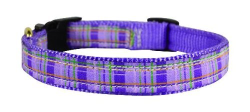 Perri's Ribbon Dog Collar, Black/Pink Plaid, Large/19-23-Inch