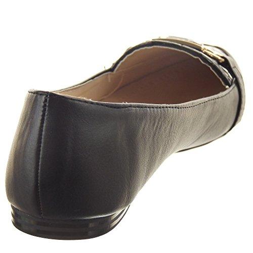 Sopily - Scarpe da Moda ballerina alla caviglia donna nodo metallico strass Tacco a blocco 1 CM - Nero