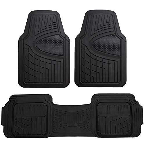 FH Group F11511 Car Floor Mats All-Weather Heavy Duty Tall Channel Full Set Mats w, Universally Designed for Trucks, Cars, SUVs, All Automobiles-Solid Black