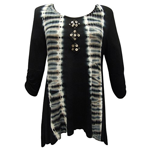 Nature Art Lynn Yang Womens Embellished Color Block Ruched Sleeve Top Black ()