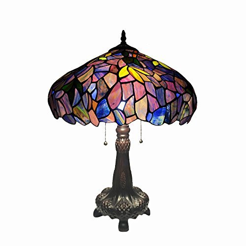 Cheap Chloe Lighting CH18045PW16-TL2 Katie Tiffany-Style Wisteria Table Lamp with 16″ Shade, 22.5 x 16 x 16, Multicolor