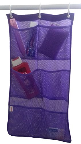 mesh-hanging-pocket-shower-caddy-organizer-hang-on-existing-shower-curtain-hooks-purple