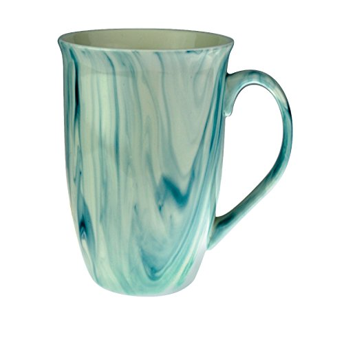 Mug - Marble Finish Ceramic Coffee Mugs 16 Ounce - Beautiful Hand Crafted Marble Finish Ceramic Stoneware Coffee and Tea Cup (Marine Blue, 1)