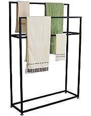 Freestanding Towel Racks, Metal Towel Shelf for Bathroom, Black Towel Stand Holder, Rust-Resistant, Easy to Assemble,85×20×110cm(L×W×H)