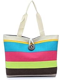 3b79164e83 Fashion Ladies Colored Stripes Shopping Wristlet Shoulder Handbag Canvas Bag  Tote Purse