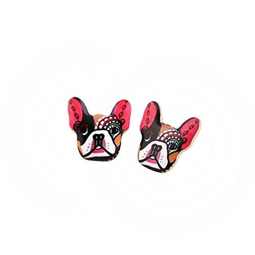 Nynoi earrings for pitbull dog pet Enamel Animal Dog Stud Earring for Women French Pitbull (Sculpture Tanzanite Ring)