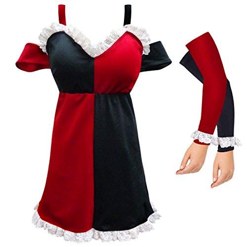 Harley Quinn Plus Size Supersize Halloween Costume Dress & Arm Covers 2x (Plus Size Harley Quinn Dress)