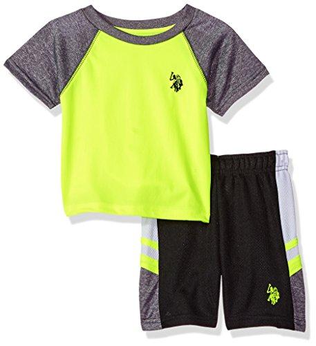 U.S. Polo Assn. Baby Boys T-Shirt and Mesh Short Set, Poly Interlock Cationic neon Yellow, - Short Infant Interlock