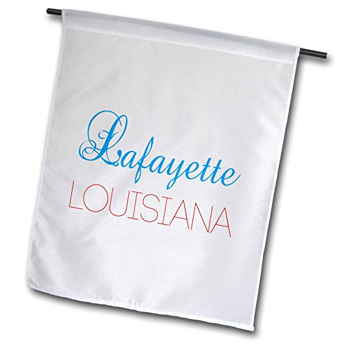 3dRose Alexis Design - American Cities Kentucky-Nebraska - Lafayette, Louisiana Blue, red Text. Patriotic Home Town Design - 18 x 27 inch Garden Flag (fl_299476_2) (Outdoor Lafayette Hanging)