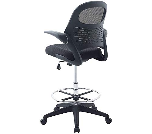 Mоdwаy Stealth Drafting Chair in Black - Reception Desk Chair - Tall Office Chair for Adjustable Standing Desks - Drafting Table Chair - Flip-Up Arms Boss Chair Reception Collection