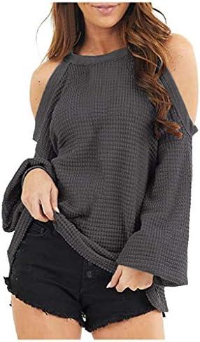 Kinsaiy Women Sweatshirt Pullover Tops Long Sleeved Sweater Pullovers Halter Neck Off Shoulder Blouses Looses Knit Top