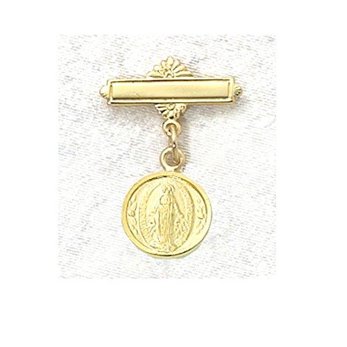 Children's Gold Tone Miraculous Medal Baby Bar Pin.