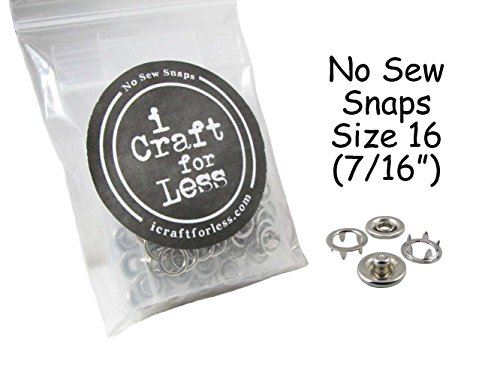 100 SETS - OPEN RING PRONG NO SEW SNAP FASTENERS (400 Pieces) - SIZE 16 (7/16'') (Silver) by I Craft for Less