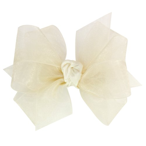 (Wee Ones Baby Girls' Mini Classic Organza Double Hair Bow - Ecru )