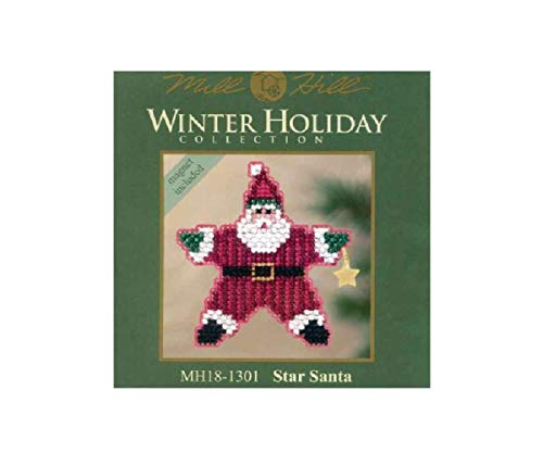Star Santa Beaded Counted Cross Stitch Ornament Kit Mill Hill 2011 Winter Holiday MH181301