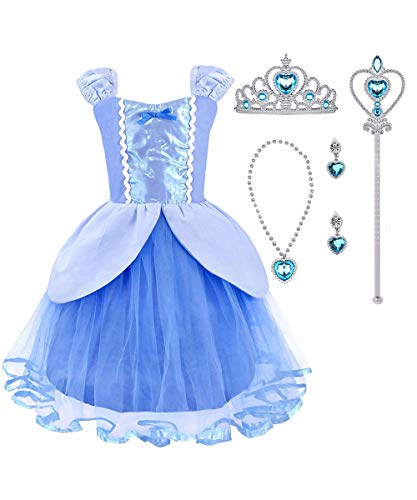 Suyye Princess Rapunzel Cinderella Costume Dress with Accessories for Baby Girl(Blue,4-5Y)