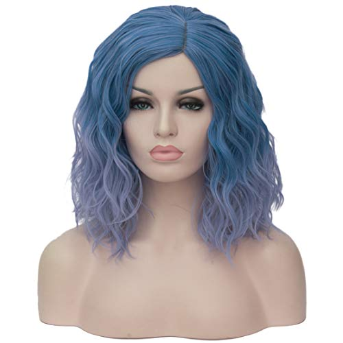 Wigs Same Day Shipping (Mildiso Short Blue Wigs Curly Wavy Wig for Women Blue Synthetic Hair Cosplay Halloween Wigs with Wig Cap)
