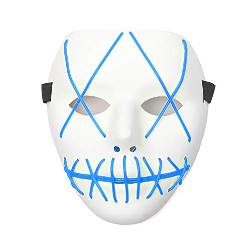 The Purge Halloween (Ansee Scary Mask Halloween Cosplay Led Costume Mask El Wire Light Up Mask for Festival Parties (Purge Mask)