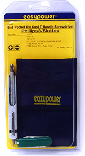 (Eazypower 86400 1-Pack 8-in-1 Pocket Metal Die Cast T-Handle Screwdriver #1/4-5,#2/8-10,#3/10-12 Phillips/Slotted with Nylon Pouch and Pocket)