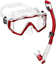 Cressi Panoramic Wide View Mask & Dry Snorkel Kit for Snorkeling, Scuba Diving   Pano 3 & Supernova Dr