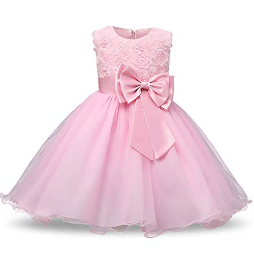 Flower Sequins Princess Toddler Girl Dress Summer 2018 Christmas Party Tutu Tulle Dresses for Children 2 3 4 5 Birthday,Pink,7]()