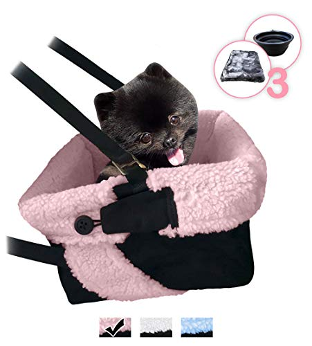 Pink & Black Car Booster Seat + Plush Blanket + Collapsible Dish for Small Dogs, Puppies, and Pets